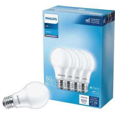 Philips 60W Equivalent Daylight A19 Medium LED Light Bulb (4-Pack)