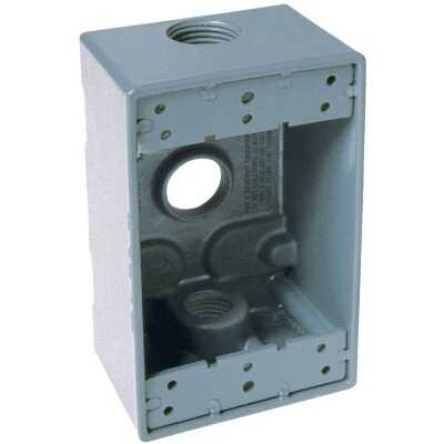 Bell Single Gang 3/4 In. 3-Outlet Gray Aluminum Weatherproof Electrical Box
