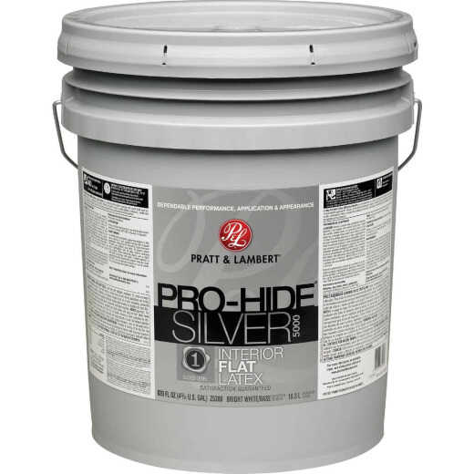 Pratt & Lambert Pro-Hide Silver 5000 Latex Flat Interior Wall Paint, Bright White Base, 5 Gal.