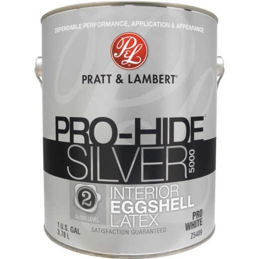 Pratt & Lambert Pro-Hide Silver 5000 Latex Eggshell Interior Wall Paint,Pro White, 1 Gal.