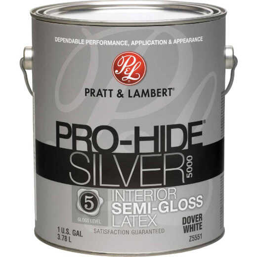 Pratt & Lambert Pro-Hide Silver 5000 Latex Semi-Gloss Interior Wall Paint, Dover White, 1 Gal.