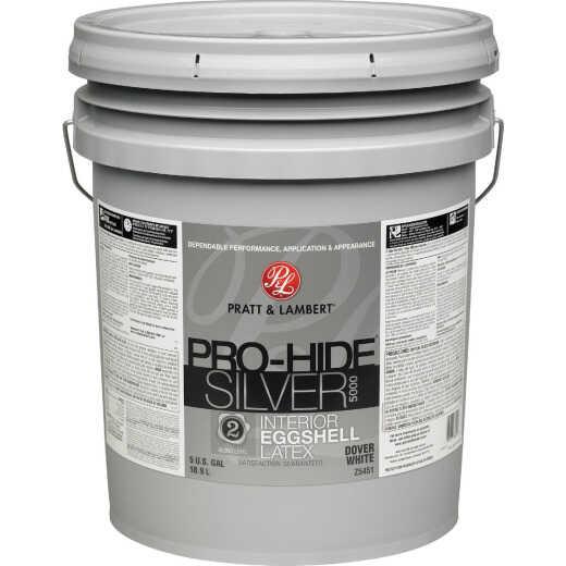 Pratt & Lambert Pro-Hide Silver 5000 Latex Eggshell Interior Wall Paint, Dover White, 5 Gal.