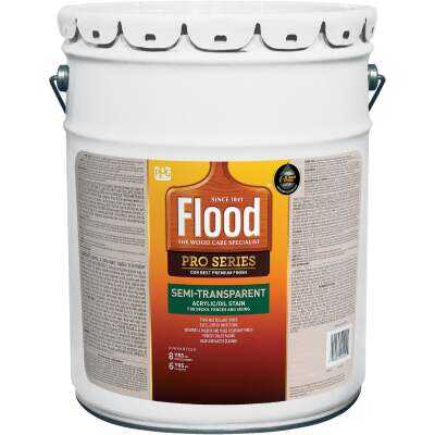 Flood Semi-Transparent Alkyd/Oil Wood Stain & Finish In One, Neutral, 5 Gal.