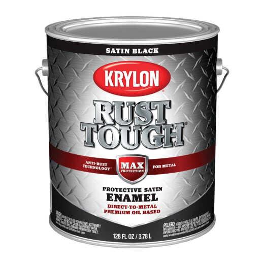 Valspar Anti-Rust Oil-Based Satin Armor Rust Control Enamel, Black, 1 Gal.